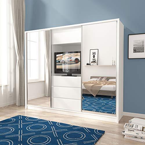 PSK BMF TV250 - Armario moderno (250 cm, puerta corredera con espejo, para televisión, color blanco