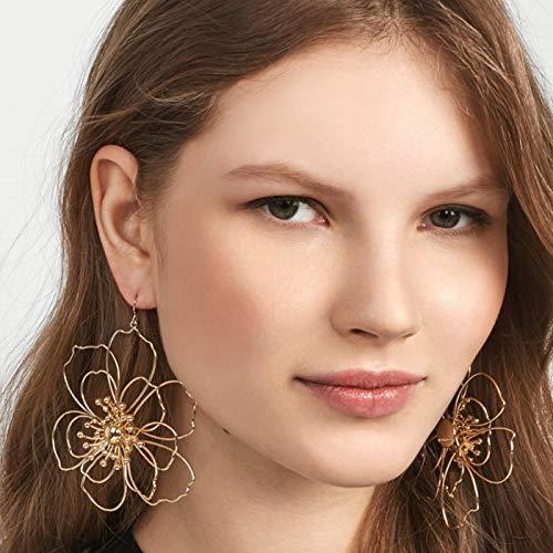 FEARRIN Pendientes de aro Vintage Pendientes Colgantes con Forma de corazón Encantador para Mujer Aleación de Oro Perla de Metal Flores Grandes Joyas de Piedra de Cristal Brillante Pendientes