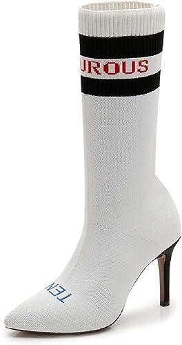ZHRUI Bottes élastiques pour Femmes à Bout Pointu et Talon Haut (Couleuré   Blanc, Taille   EU 37)