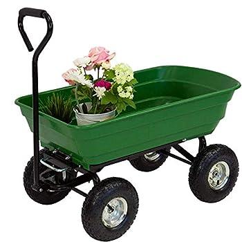 Garden Dump Utility Wagon Cart Heavy Duty Folding Garden Tools Dump Cart w/4 Wheelbarrow Air Tires  Steel Frame Adjustable Handles Wagon Carrier for Garden Sports Camping Picnic  Green