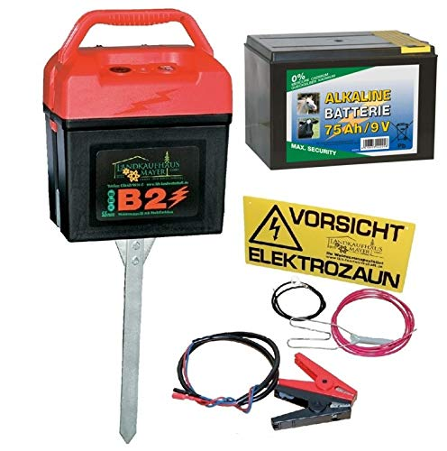 Landkaufhaus Mayer Weidezaungerät 9V 12V 230V inkl. 75 AH Alkaline Batterie!!! Weidezaun