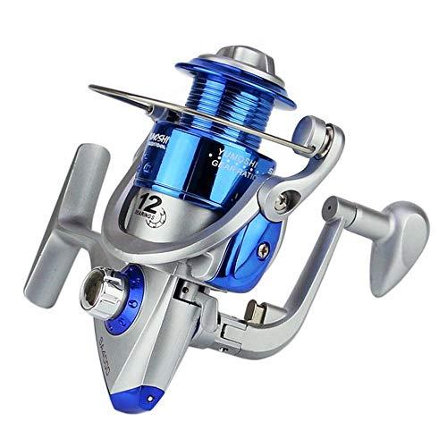 Spinning Carbon Fiber Drag Carrete de pesca de agua dulce ultraligero Serie SA1000-7000 6BB Spin Plastic con metal Rocker Arm-blue