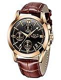 Reloj analógico de cuarzo y piel. Reloj de muñeca con fecha, formal, para hombre. Reloj deportivo dorado a prueba de agua, para hombre