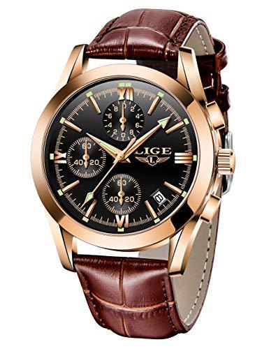 LIGE Mens Watches Leather Analog Quartz Watch Men Date Business Dress Wristwatch Men's Waterproof Sport Clock Gold