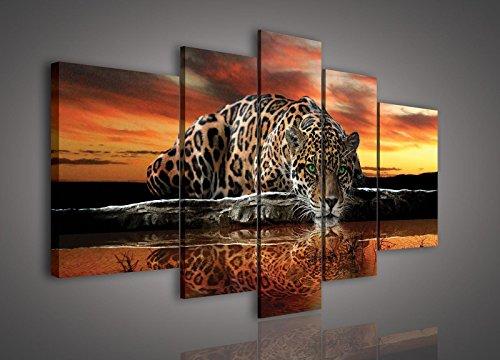 FORWALL Leinwandbild Wandbild Jaguar und Sonnenuntergang Bild Canvas S4A (170cm. x 100cm. (1x30x100, 2x30x80, 2x40x60)) AMFPS101S4A