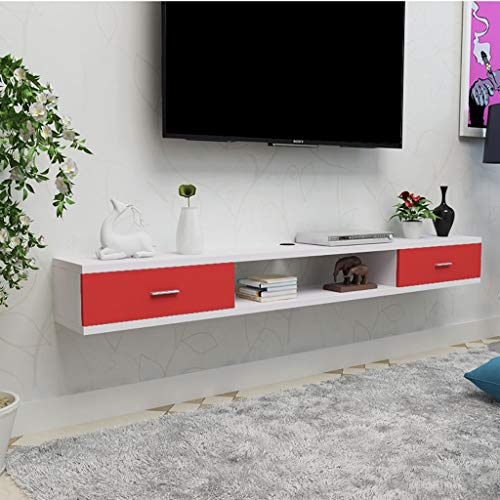 Wandmontage TV plank Wandplank Zwevende plank Met lade Wifi router Set top box Sky box Kabel box DVD's CD fotospeelgoed Opbergplank Wandmeubel Decor, 1.2M, White+red