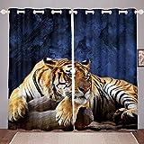 Tbrand Tiger Finestre Drapes Se Wild Animal Tema Tende per Uomini Teen-Boys Decorazione Fauna Selvatica Bambini Tende per Camera da Letto Soggiorno Giallo Blu Decorazione Camera W46* L72