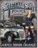 Police Dept Protect & Serve Metall-Blechschild Retro-Teller Wanddekoration Vintage Blechschilder...