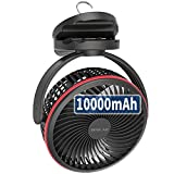 10000mAh Battery Operated Clip On Fan with Hanging Hook, Super Strong Airflow, 4...