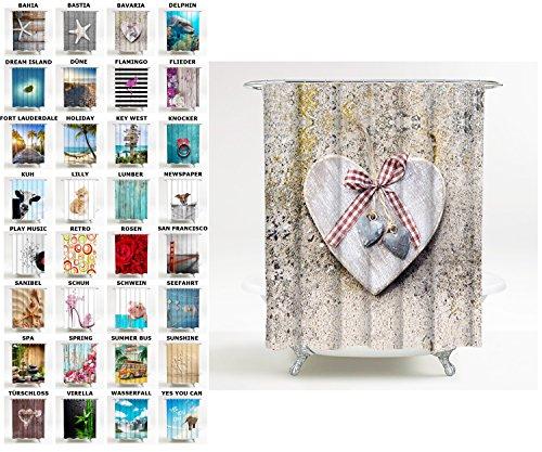 Sanilo Duschvorhang, viele schöne Duschvorhänge zur Auswahl, hochwertige Qualität, inkl. 12 Ringe, wasserdicht, Anti-Schimmel-Effekt (180 x 180 cm, Bavaria)