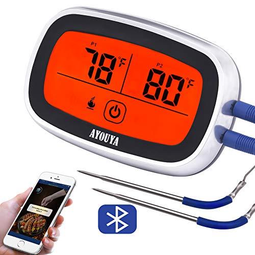AYOUYA Termometro per Cucina, Termometro Barbecue Bluetooth Digitale con Doppia Sonda Dispaly LCD Timer Allarme per BBQ Carne Grigliate Fumatore Forno App per Android/iOS