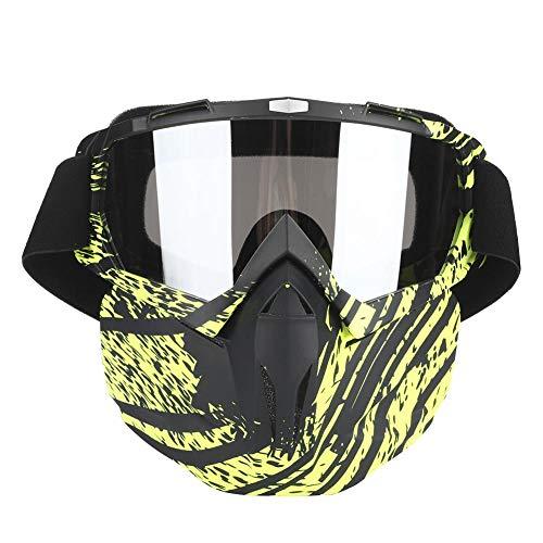 Gafas de máscara, Gafas de motocicleta Hombres Mujeres Gafas de moto de nieve Esquí Snowboard Invierno Nieve A prueba de viento Máscara Gafas de sol(Verde)