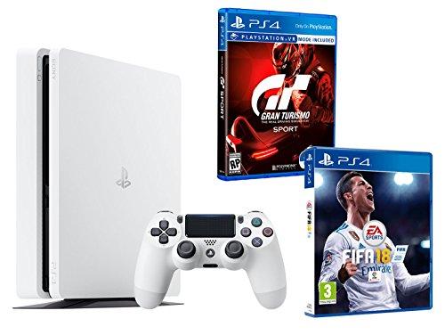 PS4 Slim 500Gb Blanca Playstation 4 Consola - Pack 2 Juegos - FIFA 18 + Gran Turismo Sport GT Sport