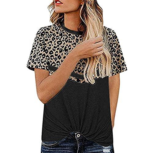 Damen Kurzarm T-Shirt O-Ausschnitt Casual Leopard Patchwork Sommer Lose Shirt Oberteile Tasche T Shirts Shirt Tee Tops