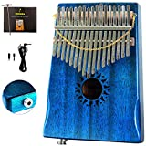 Moozica 17 Keys Kalimba, Mahogany Tone Wood 17 Keys Marimba Thumb Piano Musical Gift (Blue EQ)