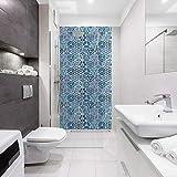 Panneau de douche décoratif Oriental 120x240cm - Revêtement mural salle de bain ID Panneaux - Losange bleu