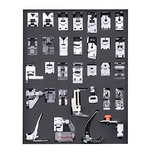 KKmoon Conjunto de pés de calcador de máquina de costura de 32 peças, pés de calcador de costura profissional para Janome Brother Singer Peças e acessórios de máquina de costura, kit de pés de calcad