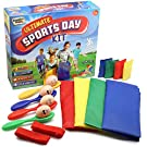 KreativeKraft Sports Day Kit   Giant 18 Pieces Mega Set For Traditional Outdoor Lawn Games & Garden Races Includes Sack Race, Egg And Spoon, Bean Bag Toss Game   Family Games For Adults And Kids