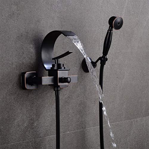 Wasserfall Badewannenarmaturen Chrom Duschset Schwarz Badewanne Mischbatterie Dual Contral Dusche Wandmontage für Badezimmer