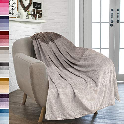 PAVILIA Flannel Fleece Ombre Throw Blanket for Couch | Soft Cozy Microfiber Couch Gradient Accent Blanket | Warm Lightweight Blanket for Sofa Chair Bed | All Season 50x60 Inches Tan Taupe