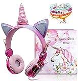 Auriculares Unicornio para Niños, Auriculares con Oreja para Niñas Auriculares Lindos con Cable 85dB...