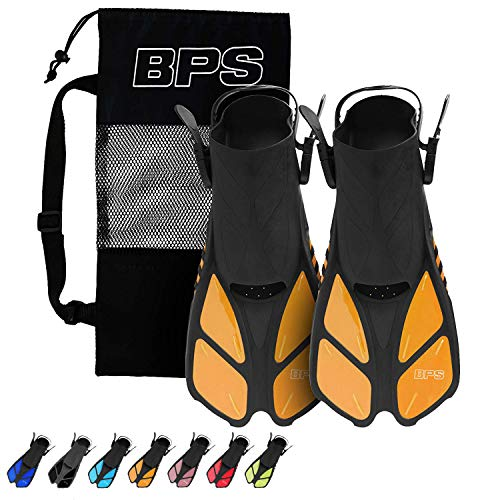 BPS Short-Blade Adjustable Swim Fins/Flippers and Full Gear Snorkel Set for Swimming, Diving, and Snorkeling (15 Swim Fins with Bag - Orange, XXS/XS)