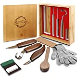 Wood Carving Tools Set, 11 in 1 Wood Carving Tools Kit for Beginners-Includes Carving Hook Knife, Wood Whittling Knife, Chip Carving Knife, Gloves, Carving Knife Sharpener for Spoon Bowl Cup