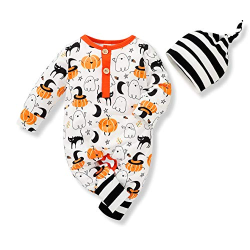 Infant Baby Girls Boys Halloween Outfits My First Halloween Pumpkin Bodysuit with Hat Clothes Set (Halloween Magic, 0-3 Months)