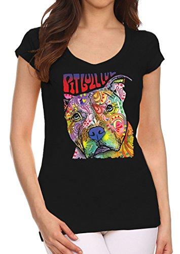 Dean Russo Neon Pitbull Luv Junior's Black V-Neck T-Shirt Medium Black
