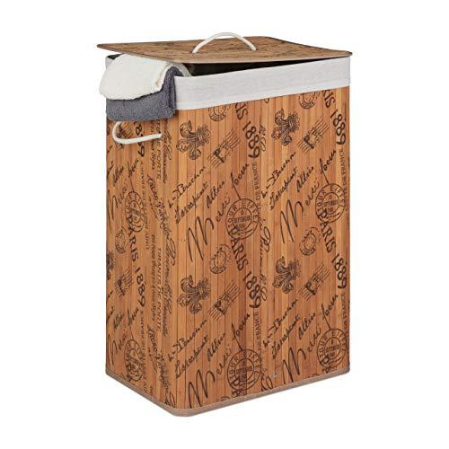 Relaxdays Cesto para la Ropa Sucia de bambú, XXL, 85 L, con Tapa, Cuadrado, 65 x 43 x 32 cm, diseño de Francia, Color Natural