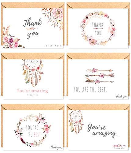 The Boho Life Dankeskarten 'Wild Flower' | Florales Set bestehend aus 60 Karten, Umschläge und Stickern | Für Hochzeitsbilder, JGA, Baby Shower, Geburtstag