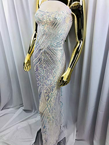 Royalty Iridescent Sequins Fabrics (Geometric) - 4 Way Stretch Sequin On A Mesh for Dresses-Nightgown-Prom-Fashion (1 Yard, Iridescent Clear ON White MESH)