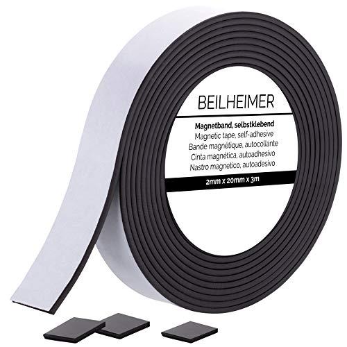 Bande magnétique autocollante, 3m x 20mm x 2mm, ruban auto-adhésif pour aimanter photos, cartes postales, ou posters - noir