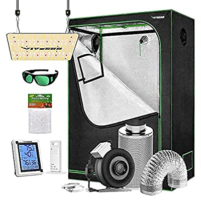 """VIVOSUN Grow Tent Complete Kit, 48""""x24""""x60"""" Growing Tent with VS1000 Led Grow Light 4 Inch 203 CFM Inline Fan Carbon Filter and 8ft Ducting Combo"""
