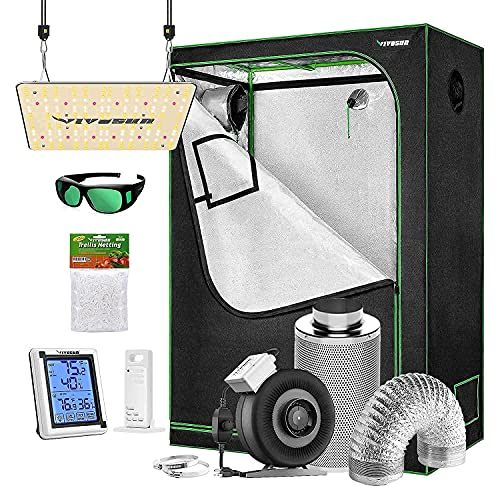 VIVOSUN 4x2 ft. Grow Tent Complete Kit with VS1000 Led Grow Light, Ventilation System with 4 Inch Inline Fan Combo, Thermometer Humidity Monitor, Trellis Netting