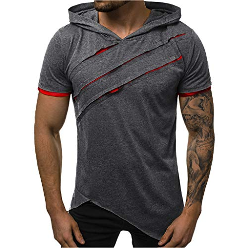Yowablo Kapuzen T Shirt Herren Sommer Casual Patchwork Slim Kurzarm Top Bluse (XXL,Dunkelgrau)