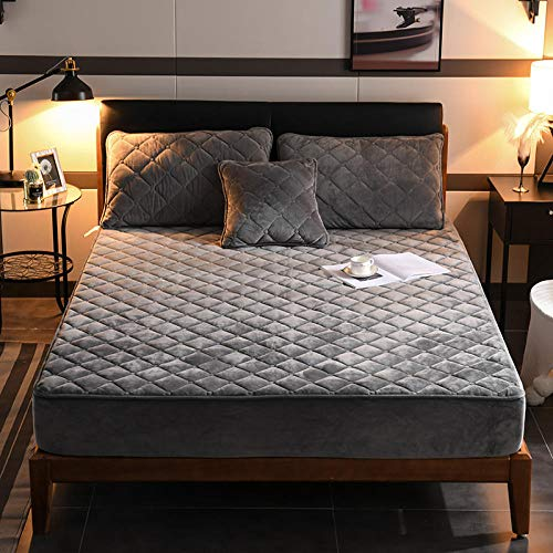 N / A Double Textiles Fitted Sheets Deep,Crystal Velvet Fitted Sheets, Padded Anti-Slip bedspreads, Single King Double Bed-Gray_120200