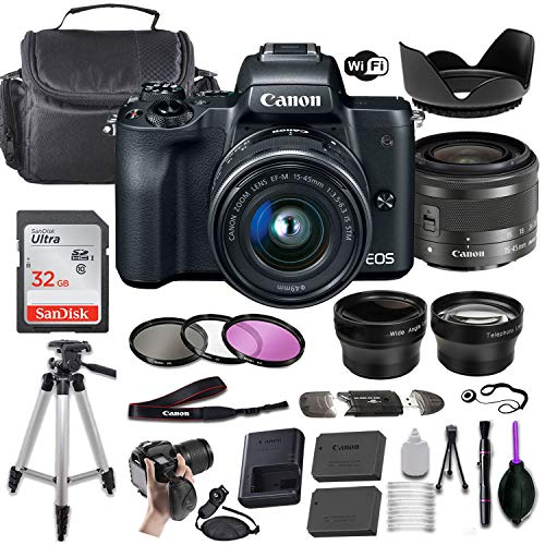 Canon EOS M50 Mirrorless Digital Camera (Black) w/EF-M 15-45mm f/3.5-6.3 is STM + Wide-Angle and Telephoto Lenses + Portable Tripod + Memory Card + Deluxe Accessory Bundle