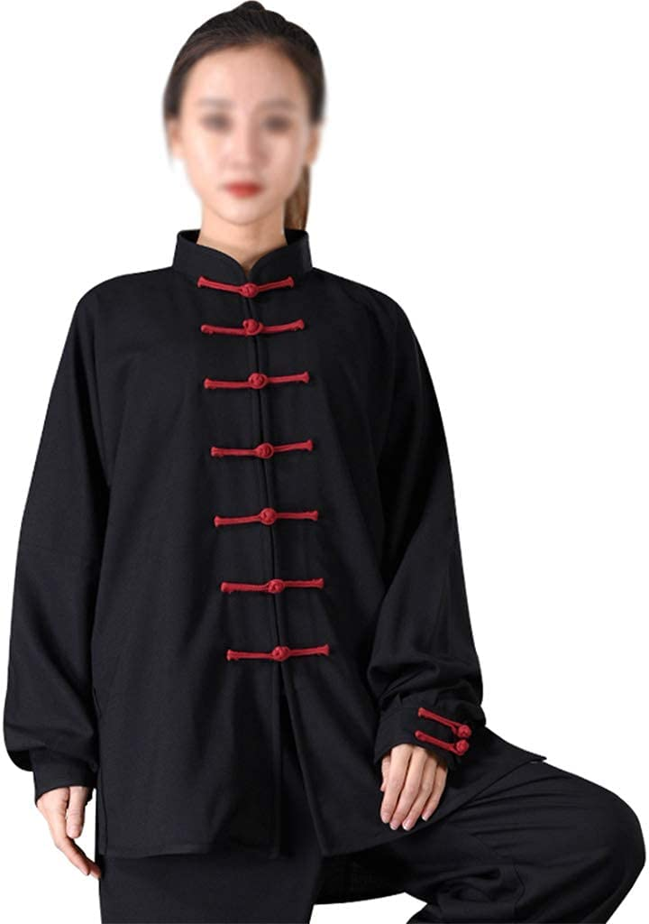 FMOGG Cotton Linen Tai Chi Uniform Suit Men Women Unisex,Martial Arts Uniform Chinese Kung Fu Clothing Wing Chun Clothes Long Sleeve Hanfu Jacket Shirt Pants Cyan-XL