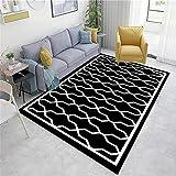 Alfombras Cocina Adornos Salon Carpeta Moderna geométrica en Blanco y Negro Bajo Velvet Sucio Sala de Estar Decoración del Restaurante Alfombra Bambu 40x60cm