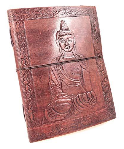 Kooly Zen Notizblock, Tagebuch, Buch, echtes Leder, Vintage, Buddha, 15 cm x 20 cm, Premiumpapier