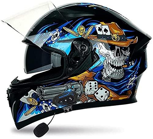 Casco de motocicleta abatible, antirreflejos, doble viseras, modulares de cara completa, con Bluetooth, respuesta automática para hombres y mujeres adultos, aprobado por DOT/ECE (color: L)