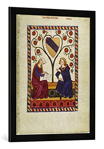 Gerahmtes Bild von Zürich Buchmalerei Alram von Gresten/aus: Codex Manesse, Kunstdruck im hochwertigen handgefertigten Bilder-Rahmen, 50x70 cm, Schwarz matt