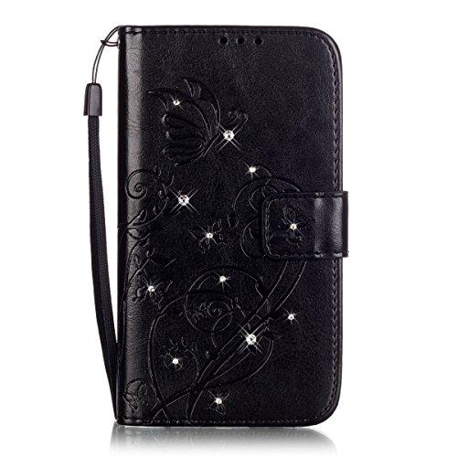 YingC-T Étui en cuir ultra fin pour iPhone 5 SE, Noir , Huawei P9 Lite