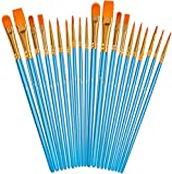 Soucolor Acrylic Paint Brushes Set, 20Pcs Round Pointed Tip Artist Paintbrushes for Acrylic Painting Oil Watercolor Canvas Boards Rock Body Face Nail Art, Adult Kids Drawing Arts Crafts Supplies