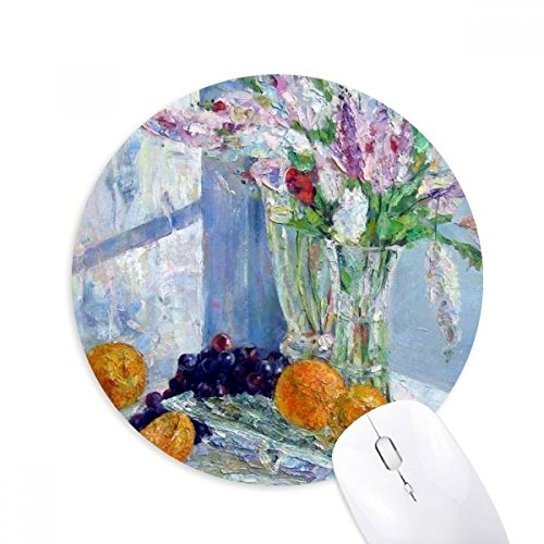 DIYthinker Stilleven Schilderen Vaas Bloem Druif Ronde Antislip Rubber Mousepad Game Office Mouse Pad Gift