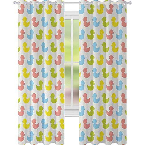 YUAZHOQI - Cortinas de goma para oscurecimiento de habitación de pato, patitos de colores, diseño de animales de bebé, colores pastel para niñas recién nacidos, cortinas personalizadas, 132 x 274 cm, color rosa, azul, verde y amarillo