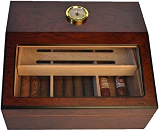 Cigarette Case Cedar Wood Lined Built-in Removable Cedar Tray Handcrafted Hygrometer and Humidifier Cigar Humidor Cabinet