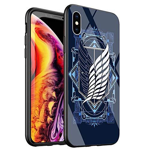DTYZL Handyhülle, gehärtetes Glas, Rückseite und TPU-Silikon-Rahmen für Kratz- und Fallfestigkeit DT-18 Anime, japanischer Attack on Titan, for iPhone XR, 5