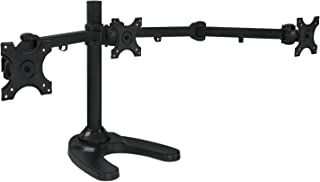 Mount-It! Triple Monitor Stand | 3 Monitor Stand Mount | Free Standing and Grommet Bases..
